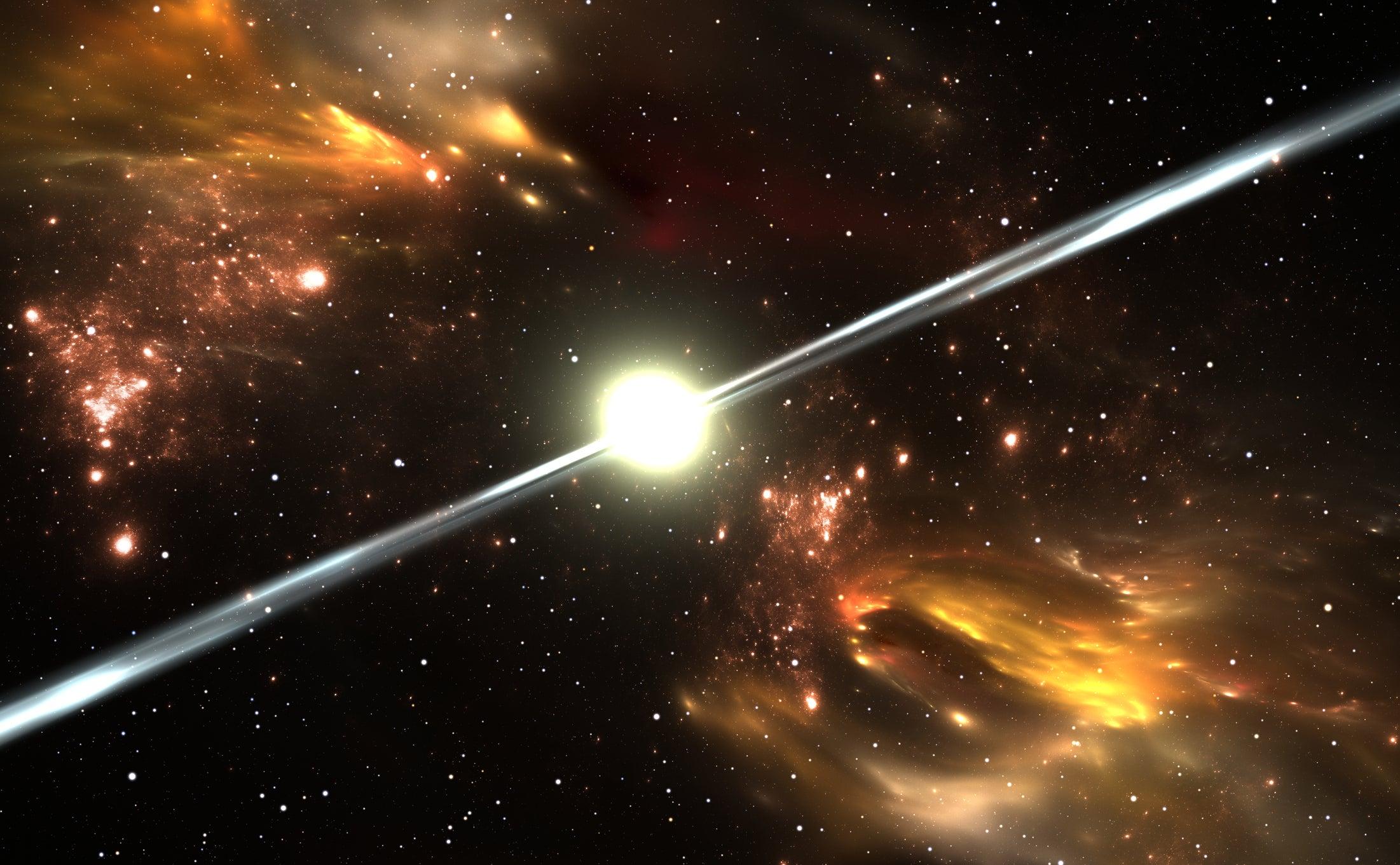 کشف یک اختر تپنده که از خود پرتوهای کاگا ساطع می کند