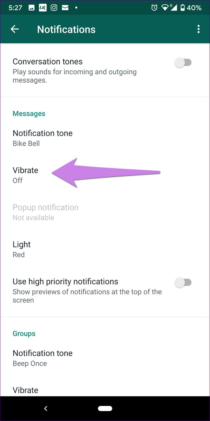 نشان ندادن پیام واتساپ بالای صفحه